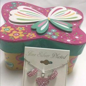 Pink Crystal Jewelry Set Heart Necklace Earrings